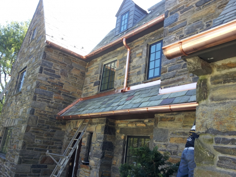 European Style Copper Gutters On Stone House Hurnik