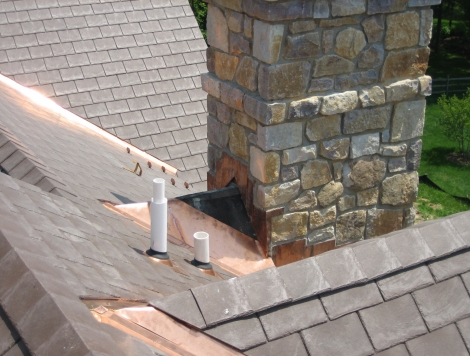 Copper Flashing and Synthetic Slate Roof